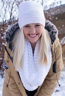 Čiapky - Snehovo-biely luxusný set čiapka+nákrčník - 6105837_
