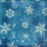 - S516 - Servítky - modrá, hviezda, vločka, vianoce - 6109908_
