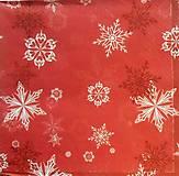 - S521 - Servítky - červená, vločky, vianoce - 6110701_