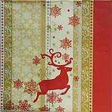 - S523 - Servítky - vianoce, červená, jeleň - 6110722_