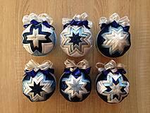 Dekorácie - Patchworkové gule - modrá, biela, strieborná - 6109436_
