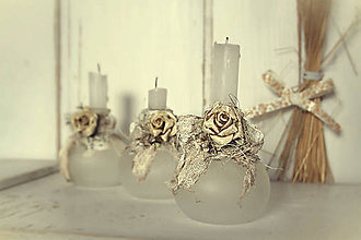 Svietidlá a sviečky - Shabby chic - malé svietničky 01 - 6107109_