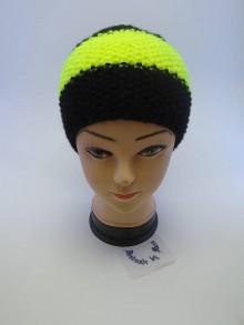 Čiapky - Pletená čiapka čierno-žltá neón - 6110508_