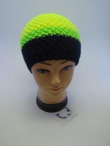 Čiapky - Pletená čiapka tmavo modrá,neón zelená a žltá - 6110795_