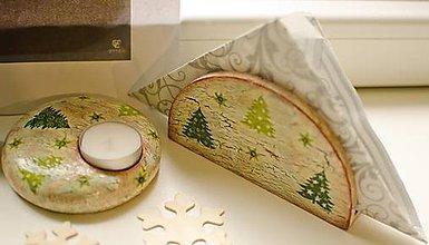 Svietidlá a sviečky - Vianočná súprava servitník a svietnik - 6108220_