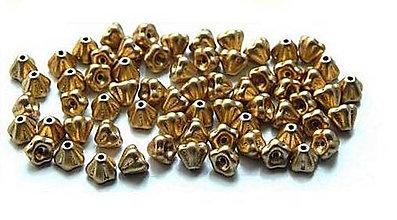 Korálky - Zvončeky, zlaté /5ks - 6114703_