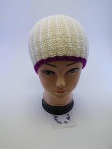 Čiapky - Pletená čiapka biela s cyklámenovým lemom - 6110863_