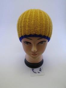 Čiapky - Pletená čiapka horčicová s kráľovskou  modrou - 6110865_