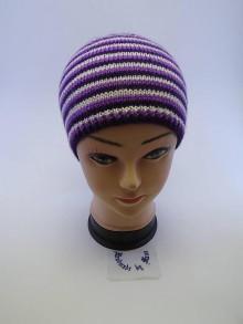 Čiapky - Pletená čiapka fialovo biele pruhovanie - 6110878_