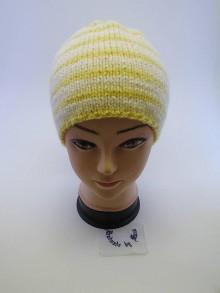Čiapky - Pletená čiapka žlto biele pruhovanie - 6110886_