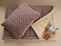 Textil - Ovčie rúno Merino súprava do postieľky prikrývka 100x140 cm s Vankúšom 40 x60 cm Hviezdička hnedá - 6110892_