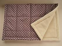 Textil - Ovčie rúno Merino súprava do postieľky prikrývka 100x140 cm s Vankúšom 40 x60 cm Hviezdička hnedá - 6110894_
