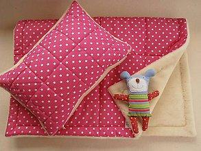 Textil - 100% Ovčie rúno Merino súprava do postieľky prikrývka 100x140 cm s Vankúšom 40 x60 cm Hviezdička ružová - 6110867_