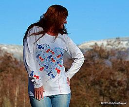 Tričká - Dámske tričko s folk motívom, maľované ŠTEBOTAVO - 6111379_