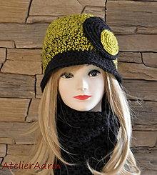 Čiapky - háčkovaný klobúčik olivovo-čierny - 6111449_