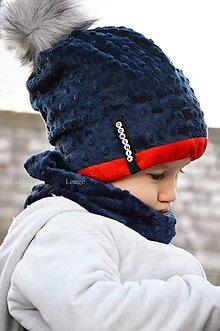 Detské súpravy - zimný set s odopínacím brmbolcom navy&red ...alebo farbu si vyber! - 6114489_