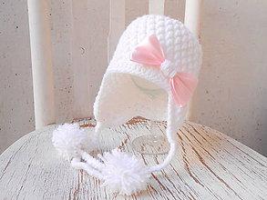 Detské čiapky - Biela ušianka - 6110972_