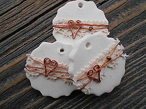 Dekorácie - vianočné kolieska/medený drôt a krajka - 6113990_