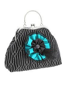 Kabelky - Spoločenská dámská kabelka čierno strieborná 04U - 6118582_