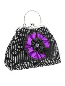 Kabelky - Spoločenská dámská kabelka čierno strieborná 05U - 6118592_
