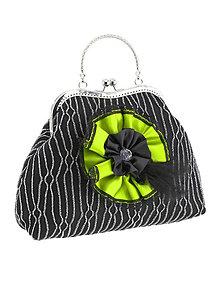 Kabelky - Spoločenská dámská kabelka čierno strieborná 07U - 6118607_