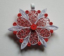 Dekorácie - Vianočná ozdoba na stromček - červeno- biela - 6118756_