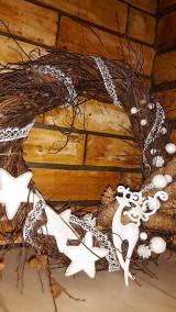 Dekorácie - Vianočný  veniec Biely Sob - 6120462_