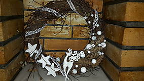 Dekorácie - Vianočný  veniec Biely Sob - 6120467_