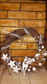 Dekorácie - Vianočný  veniec Biely Sob - 6120468_