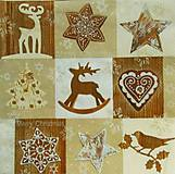 - S527 - Servítky - mozaika, Vianoce, sob, los, perník - 6122083_