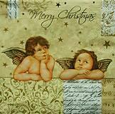 Papier - S543 - Servítky - anjeli, merry christmas - 6122879_