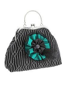 Kabelky - Spoločenská dámská kabelka čierno strieborná 12U - 6124576_