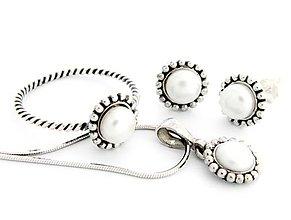 Sady šperkov - CERTIFIKÁT 925 Strieborný komplet/sada s prírodnou perlou - 6125248_