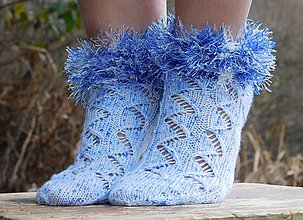 Obuv - Ponožky - modrá cica(v.38-39) - 6125341_