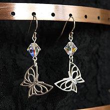 Náušnice - Swarovski s motýľmi :) - 6123314_