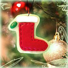 Dekorácie - Svietiaca vianočná dekorácia (vianočná ponožka) - 6123352_