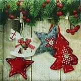 Papier - S546 - Servítky - vianočné ozdoby, koník, hviezda - 6128017_