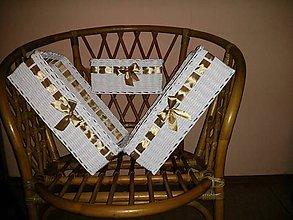 Košíky - Biela sada v zlato-hnedom saténe.. - 6131902_