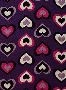 Textil - Fialová so srdiečkami - posledná šanca - 6132535_