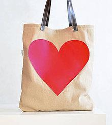 Nákupné tašky - Heartbag nákupka červená - 6135414_