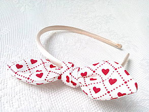 Ozdoby do vlasov - Sweet Pin Up headband (white/red hearts) - 6137084_