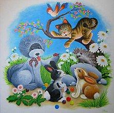 """Obrazy - Akrylová maľba """"Poďme sa hrať"""" 80x80 - 6135606_"""