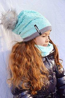 Čiapky - zimná súprava s menom a odopínacím brmbolcom Mint...alebo farbu si vyber! - 6136254_