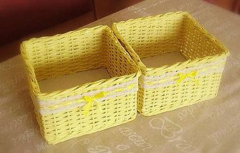 Košíky - Košík žltý čipkovaný - 6133662_