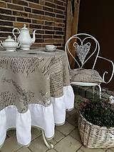 Úžitkový textil - Ľanový obrus Manuscrit White - 6136555_