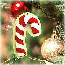 Dekorácie - Svietiaca vianočná dekorácia (vianočné lízatko) - 6136942_