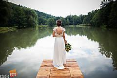 Šaty - Svadobné šaty v ľudovom štýle v smotanovej farbe - 6139221_