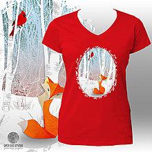 555e49196a8d Tričká - Červené tričko Líška a Kardinál - 6138847