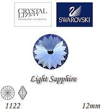 Korálky - SWAROVSKI® ELEMENTS 1122 Rivoli - Light Sapphire, 12mm, bal.1ks - 6138217_