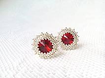 Náušnice - Wild cherries II. (Rhodium earrings / Swarovski crystal) - 6144350_